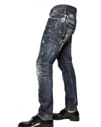 DSquared² | Blue 17cm Painted Denim Biker Jeans for Men | Lyst