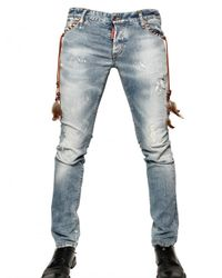 DSquared² - Blue 19cm Destroyed Denim Slim Fit Jeans for Men - Lyst