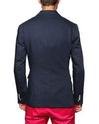 DSquared² - Blue Cotton Linen Double Breasted Jacket for Men - Lyst
