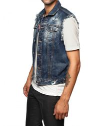 DSquared² | Blue Denim and Leather Eagle Patch Vest for Men | Lyst