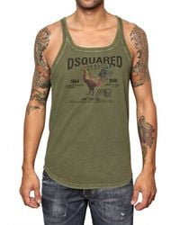 DSquared² - Green Cotton Jersey Rooster Tank Top for Men - Lyst
