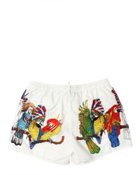 DSquared² - Multicolor Nylon Parrot Print Shorts Bathing Suit for Men - Lyst
