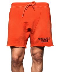 DSquared² | Orange Cracked Print Cotton Fleece Sweat Shorts for Men | Lyst