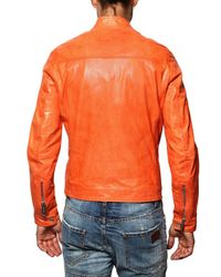 DSquared² | Orange Multi-zip Biker Nappa Leather Jacket for Men | Lyst