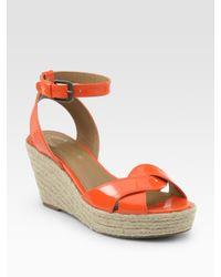 Elie Tahari - Natural Dawn Patent Leather Espadrille Wedge Sandals - Lyst