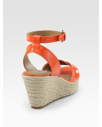 Elie Tahari - Orange Dawn Patent Leather Espadrille Wedge Sandals - Lyst
