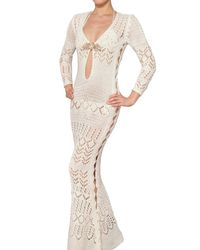 Emilio Pucci | White Jewelled Cotton Crochet Long Dress | Lyst