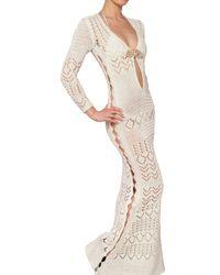Emilio Pucci - White Jewelled Cotton Crochet Long Dress - Lyst
