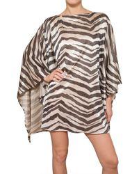 Emilio Pucci | Multicolor Zebra Print Lurex Knit Kaftan Dress | Lyst