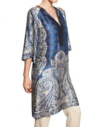 Etro | Black Paisley Print Jersey Wrap Dress | Lyst