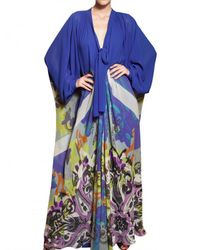 Etro | Blue Printed Silk Georgette Long Dress | Lyst