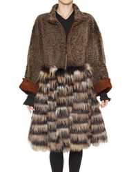 Fendi | Brown Shearling and Fox Fur Coat | Lyst