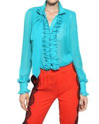 Francesco Scognamiglio | Blue Ruffled Silk Chiffon Shirt | Lyst