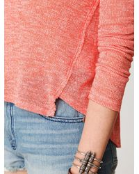 Free People | Pink Long Sleeve Metallic Swit Tee | Lyst
