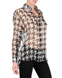 John Galliano   Black Houndstooth Print Chiffon Shirt   Lyst