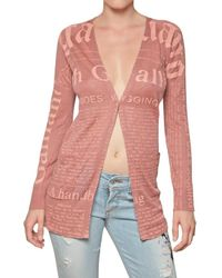 John Galliano | Pink Logo Printed Linen Cardigan Sweater | Lyst