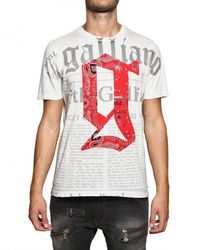 John Galliano | White Logo Print Cotton T-shirt for Men | Lyst