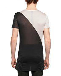 Gareth Pugh - Black Bicolored Modal Jersey Transparent T-shirt for Men - Lyst