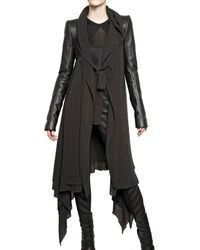 Gareth Pugh | Black Leather Sleeves Silk Chiffon Coat | Lyst