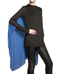 Gareth Pugh - Black Silk Chiffon Cape On Modal Jersey Top - Lyst