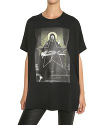 Givenchy - Black Oversize Printed Cotton Jersey T-shirt - Lyst