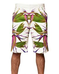 Givenchy | White Birds Of Paradise Printed Gabardine Shorts for Men | Lyst