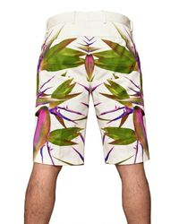 Givenchy - White Birds Of Paradise Printed Gabardine Shorts for Men - Lyst