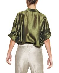 Haider Ackermann | Green Oversize Light Silk Shantung Shirt | Lyst