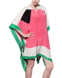 Issa - Multicolor Printed Silk Satin Poncho Shirt - Lyst