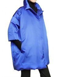 Jil Sander - Blue Shiny Silk Poplin Down Jacket - Lyst