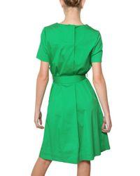 Jil Sander   Green Stretch Cotton Poplin Dress   Lyst