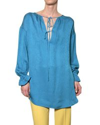 Jo No Fui | Blue Crepon Silk Satin Long Shirt | Lyst