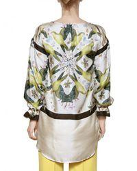 Jo No Fui - White Foulard Printed Satin Twill Shirt - Lyst