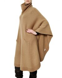 JOSEPH - Natural Wool Cashmere Knit Poncho Sweater - Lyst