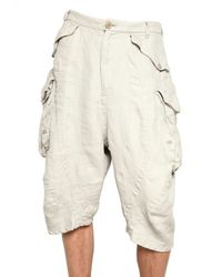 Julius - Natural Bamboo Twill Cargo Shorts for Men - Lyst