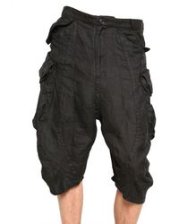 Julius - Black Bamboo Twill Cargo Shorts for Men - Lyst