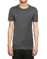 Kris Van Assche | Gray Raw Cut Jersey and Ribbed Cotton T-shirt for Men | Lyst
