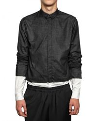 Kris Van Assche - Black Cotton Voile and Poplin Shirt for Men - Lyst
