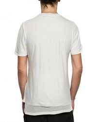 Kris Van Assche | White Raw Cut Jersey and Ribbed Cotton T-shirt for Men | Lyst