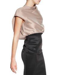 Lanvin   Natural Stretch Silk Organza Top   Lyst