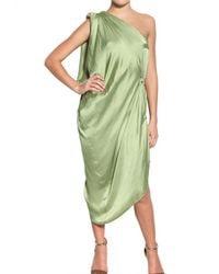 Lanvin | Green Satin Dress | Lyst
