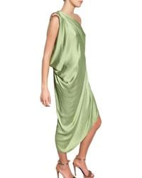 Lanvin - Green Satin Dress - Lyst