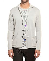 Lanvin | Gray Wool Cotton Knit Cardigan Sweater for Men | Lyst
