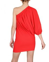 Lanvin | Gathered Lycra One Sleeve Dress | Lyst