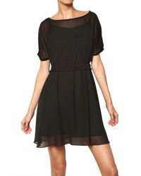 Marc By Marc Jacobs | Black Elasticated Waistband Chiffon Dress | Lyst