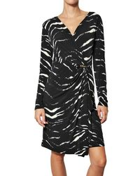 MICHAEL Michael Kors | Black Zebra Mock Wrap Dress | Lyst