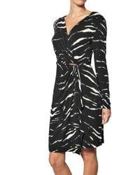 MICHAEL Michael Kors - Black Zebra Mock Wrap Dress - Lyst