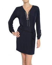 MICHAEL Michael Kors - Blue Chain Tie Jersey Dress - Lyst