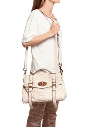 Mulberry | Natural Large Alexa Silky Snake Print Leather To | Lyst