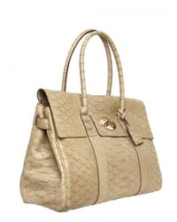 Mulberry | Natural Bayswater Silky Snake Print Leather Top | Lyst